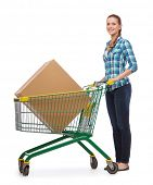 happiness, shopping and people concept - smiling young woman with shopping cart and big box in it