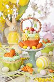 Easter basket cupcake on a stand