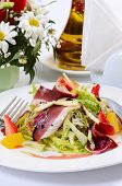 stock photo of duck breast  - Salad with smoked duck breast cloce up - JPG