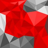 Grey and red triangle vector background or seamless pattern. Flat black, red and grey surface