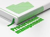Finance concept: book Folder, Procurement Management on white background