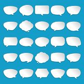 Speech bubbles set white paper shadow effect vector illustration