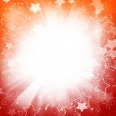 Abstract holiday background with stars and lightbeams