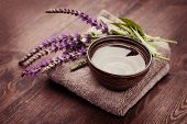image of purple sage  - bowl of water and fresh sage  - JPG