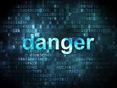Safety concept: Danger on digital background