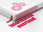 Information concept: book Gears, Information Overload on white background