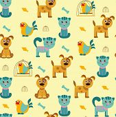 Vector cartoon seamless pattern with cats, dogs and birds