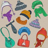 Vector Set Hipster Winter Warm Knitted Hats