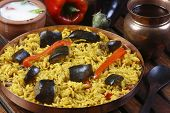 stock photo of brinjal  - Eggplant Biryani  - JPG