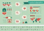 Flat Medical Infographics Elements plus Icon Set. Vector.