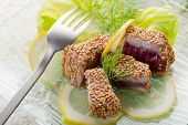 image of yellowfin tuna  - grilled tuna with seed sesame - JPG