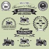 stock photo of truck farm  - set of vector labels with a tractor for livestock and crop - JPG