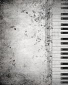 Conceptual image of music theme with keys and notes
