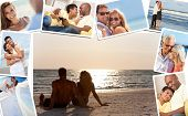 Montage of happy, romantic, mixed race couples enjoying a relaxing lifestyle, sunset beach, wedding,