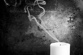 Candle Smoke Trails Black and White