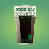 picture of guinness  - Illustration of a beer Irish stout for a St. Patrick Day. Green 