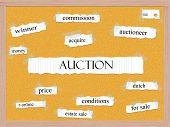 Auction Corkboard Word Concept