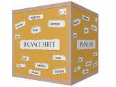 Balance Sheet 3D Cube Corkboard Word Concept