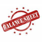 Red Weathered Balance Sheet Stamp Circle And Stars Design