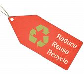 Reduce Reuse Recycle Green And Red Tag And String