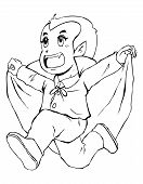 stock photo of dracula  - Outline illustration of Dracula for coloring page - JPG