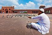 DELHI, INDIA - AUGUST 29, 2011: Muslim man feeding pigeons in India largest mosque Jama Masjid. Pige