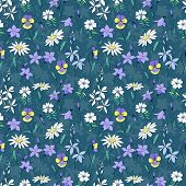 Beautiful wild flowers seamless pattern