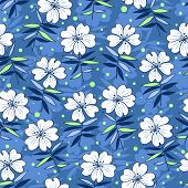 Beautiful flowers seamless pattern blue