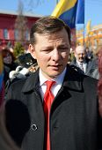 KIEV, UKRAINE - March 9, 2014:Oleg Lyashko leader of the Radical Party of Ukraine at a meeting in Ki