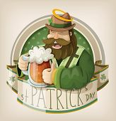 picture of saint patrick  - St Patrick day card with saint Patrick drinking beer - JPG