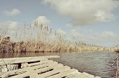 stock photo of dock a pond  - image valence pond in spring brown water - JPG