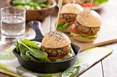 picture of veggie burger  - Vegan burgers with  beans and vegetables served with spinach - JPG