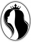 stock photo of niece  - Silhouette of a girl and a crown on a different layers - JPG