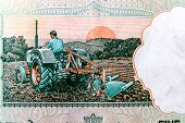 Indian 5 rupees currency note depicting a farmer ploughing