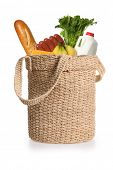 Grocery food items in an environmentally friendly reusable shopping bag
