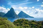 stock photo of petition  - Panorama of Pitons at Saint Lucia - JPG