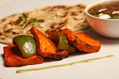 stock photo of paneer  - Tandoori Paneer Tikka Kebab is the wonderful kebab dish - JPG