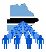 Lines of people with Botswana map flag vector illustration