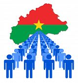 Lines of people with Burkina Faso map flag vector illustration