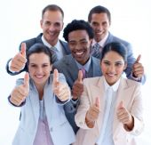 High Angle Of Multi-ethnic Business Team With Thumbs Up