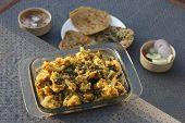 Cauliflower and Spinach subzi from India