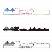 image of copenhagen  - Copenhagen skyline linear style with rainbow in editable vector file - JPG