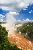 Panoramic View Of Devil's Throat Of Iguazu Falls, Brazil, Argentina