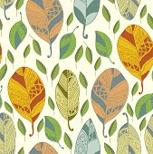 Seamless Pattern With Abstract Leaf