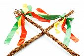 foto of flogging  - Czech Easter rods on a white background - JPG