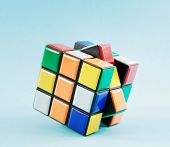toy cube on with blue background