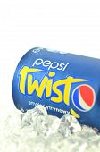 Pepsi Twist drink in a can isolated on white background
