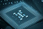 stock photo of microprocessor  - Microprocessor Closeup  - JPG