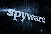 The word spyware against futuristic black and blue background