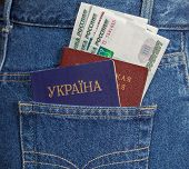 Ukrainian And Russian  Passports In The Back Jeans Pocket